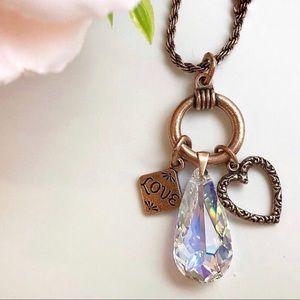 Alex & Ani Love Trio Swarovski Crystal Necklace